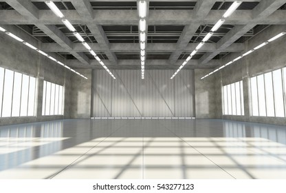 Modern Storehouse Interior with Lamps and Large Windows. 3D Rendering