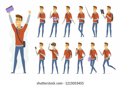 Modern student - cartoon people character set