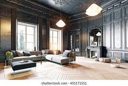 modern style black living room apartment. 3d rendering