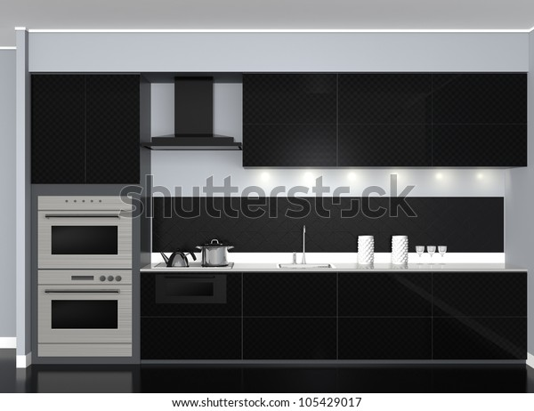 modern style black tone system kitchen(front view)