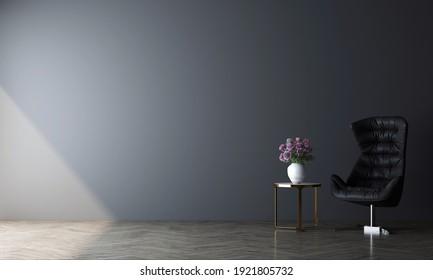 Modern style dark interior with black furniture. Minimalist interior design with empty space. 3D illustration.
