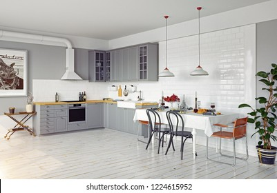 modern style design kitchen interior. 3d rendering concept