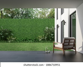 Modern style indoor terrace with garden courtyard 3d render, There are black tile floor , green plant fence,Decorated with wood and white fabric furniture,Surrounded by nature.