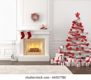 modern style interior of fireplace with christmas tree and presents in white and bright red