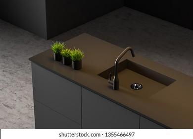 Modern style kitchen interior. 3d Rendering