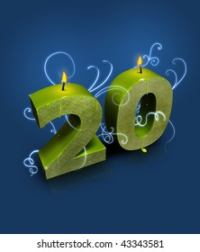 Modern style number 20, appropriate for 20th birthday or anniversary