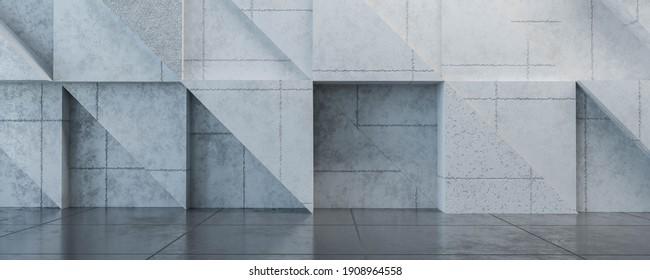 modern stylish design big loft living room concete wall industrial style 3d render illustration