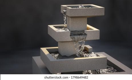 Eine moderne, stilvolle Innenbrunnen-3D-Illustration