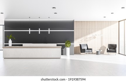 Modern sunny office with cozy waiting area with black chairs, marble reception desk and floor, dark wall and lights from top. 3D rendering