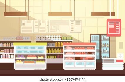 Modern super market empty interior flat illustration. Retail store market, supermarket with assortment food