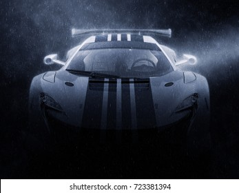 Modern super race car - night rain shot - 3D Illustration