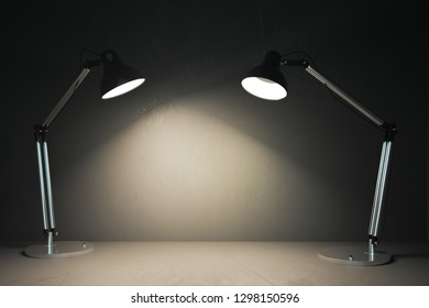 Modern table lamps illuminating copy space. Design and mockup concept. 3D Rendering