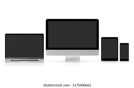 Modern tech devices collection isolated on white background 3d rendering