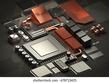 Modern Technology background.A close look at a performance computer CPU on a motherboard for processing data. 3D illustration render.