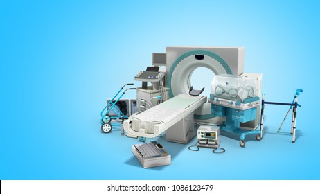 Modern technology in the medical technic 3d render on blue