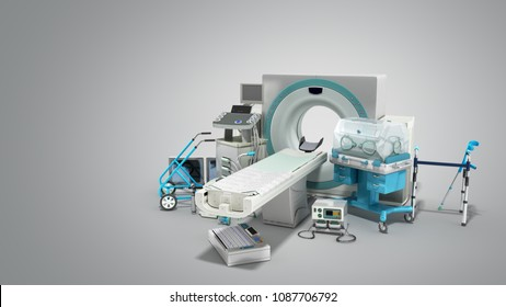 Modern technology in the medical technic 3d render on grey