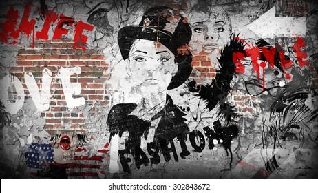 Modern teenage girl on grunge background. Grunge style. Modern generation.
