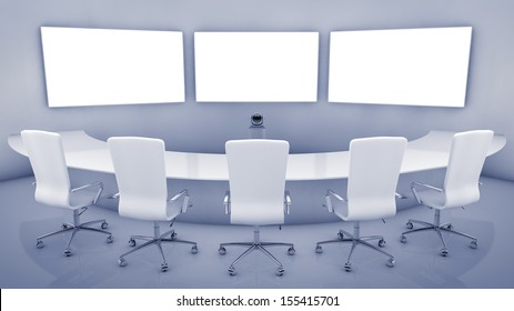 Modern teleconferencing room , high resolution telepresence interior