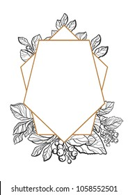 Modern template. Tropic design. Symbol nature card of mate branch with art line leaf, berry and flower. Trendy frame in polygon Geometric realistic illustration, invite on white background Floral logo