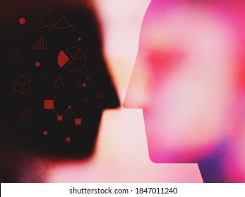 Modern textured digital illustration of abstract human heads and personal data infographics. Concept of internet activities data collecting, web fingerprinting. Vector vibrant color noise gradients.