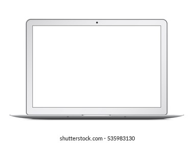 Modern thin laptop, notebook or ultrabook isolated.