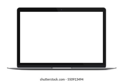 Modern thin laptop, notebook or ultrabook isolated.  illustration.