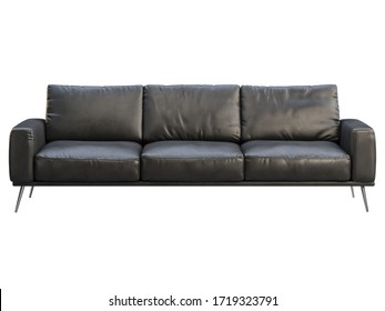 Modern three-seat sofa. Black leather sofa with metal legs on white background. Mid-century, Modern, Loft, Chalet, Scandinavian interior. 3d render