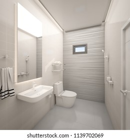 Modern toilet with texture tile wall in house , 3d rendering
