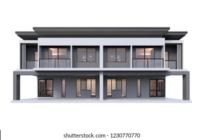 Modern townhome 3d rendering luxury style isolated on white background.