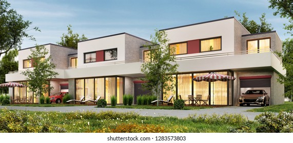 Modern townhouse with garages and terraces. 3D rendering