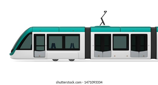 Modern Tram Isolated. 3D rendering