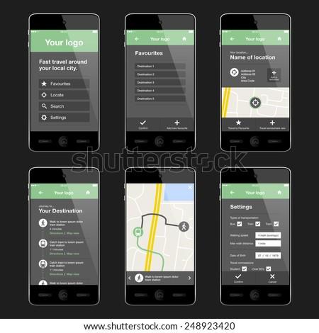 Modern Travel Transportation App Application Design Stock