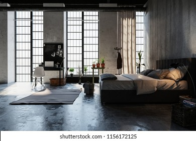 Modern trendy attic conversion bedroom with large floor to ceiling windows, double bed desk and grunge grey wall lit by illuminated bed lamps. 3d rendering