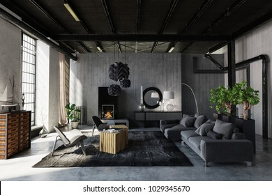 Modern trendy living room in an industrial loft conversion with grey decor and lounge suite and exposed structural elements lit by large windows. 3d rendering