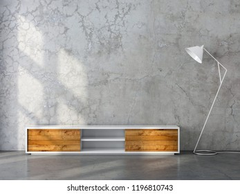 Modern tv console mockup with wooden facade and modern floor lamp in empty room, 3d rendering