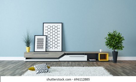 modern tv stand design with blue wall and photo frames in the room decoration idea 3d rendering by Sedat SEVEN