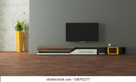 modern tv stand design with wall in the room decoration idea 3D rendering by Sedat SEVEN