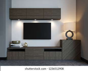 Modern TV stand with TV in loft apartment. 3D Rendering