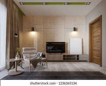 Modern TV stand with shelves and a TV over on the wall of glossy panenley beige color. Bedroom with an armchair and TV stand. 3d rendering