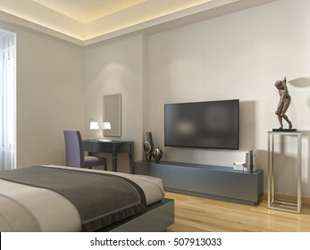 bedroom with tv and desk. Modern TV Unit And A Desk Chair In The Living Room. 3D Render. Bedroom With Tv