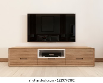 modern TV unit in a scandinavian bedroom. 3D rendering