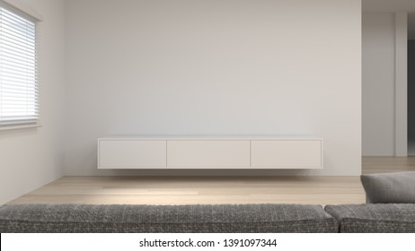 modern Tv white cabinet shelf in empty room interior background  3d rendering home designs,background shelves and books on the desk in front of empty clean wall modern home design