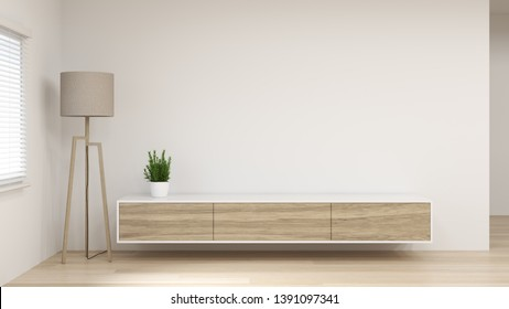 modern Tv white wood cabinet shelf in empty room interior background  3d rendering home designs,background shelves and books on the desk in front of empty clean wall modern home design