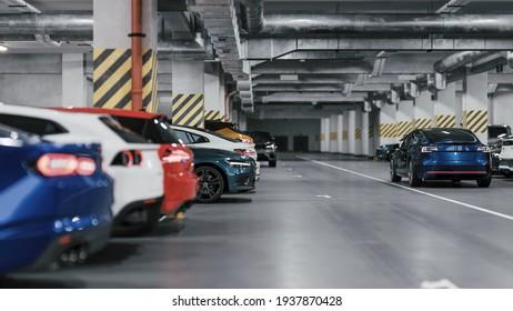 Modern underground parking. Indoor full modern parking. 3d illustration