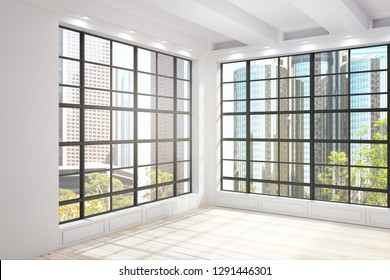 Modern unfurnished interior with New York city Central park view. 3D Renderind
