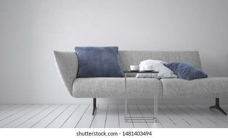 Modern upholstered grey couch or day bed with comfy cushion and metal legs on a monochromatic white room with painted floorboards. 3d rendering