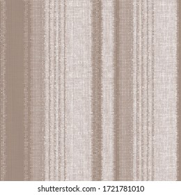 Modern upholstery striped jute print pattern design in natural linen tones. Simple, stylish, retro vertical stripes on textures background . Grunge Pattern for Linen, Fabric, Wallpaper, rug, carpet