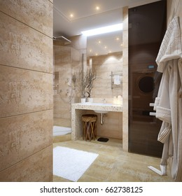 Modern Urban Contemporary Bathroom Interior Design with Beige Marble Travertine Tiles and Wooden sauna. 3d rendering