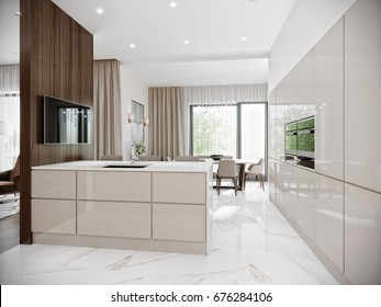 Modern Urban Contemporary Bright large White Gray Beige Kitchen Interior Design with Marble Floor Tiles, White quartz Bar countertop and walnut wood furniture. 3d rendering