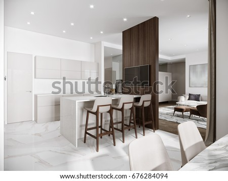 Modern Urban Contemporary Bright Large White Stock Illustration